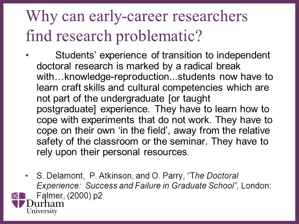 Why can early-career researchers find research problematic