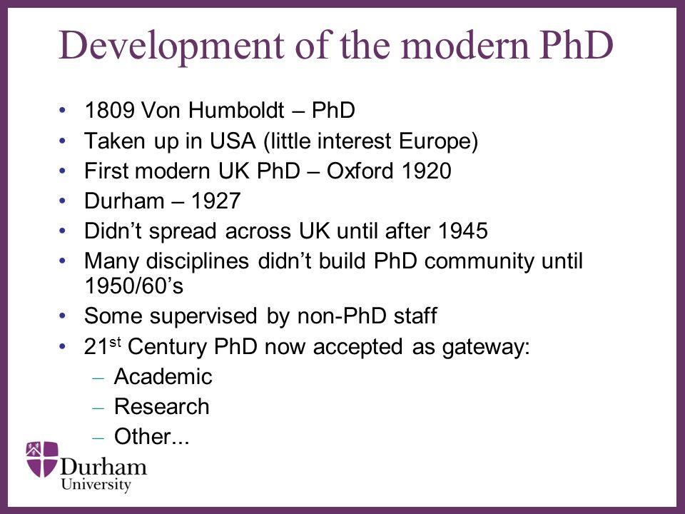 Development of the modern PhD