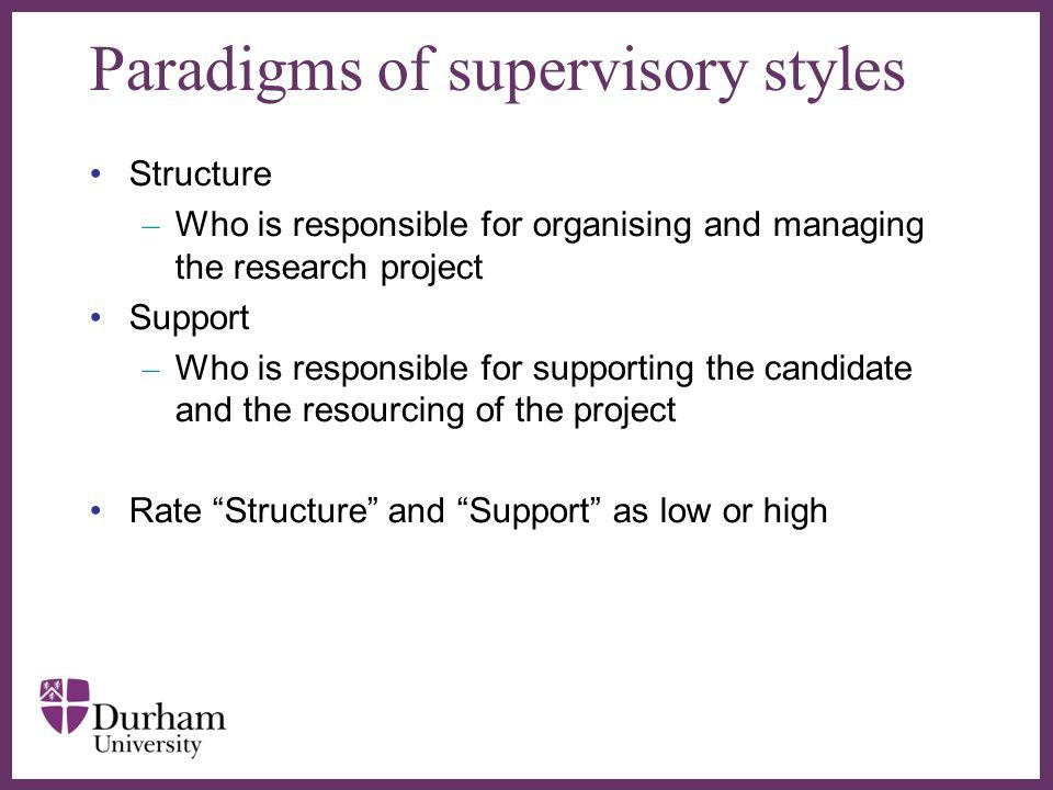 Paradigms of supervisory styles