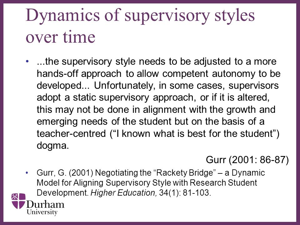 Dynamics of supervisory styles over time