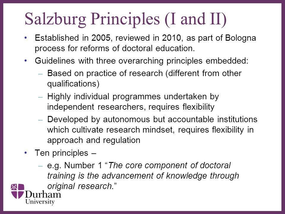 Salzburg Principles (I and II)