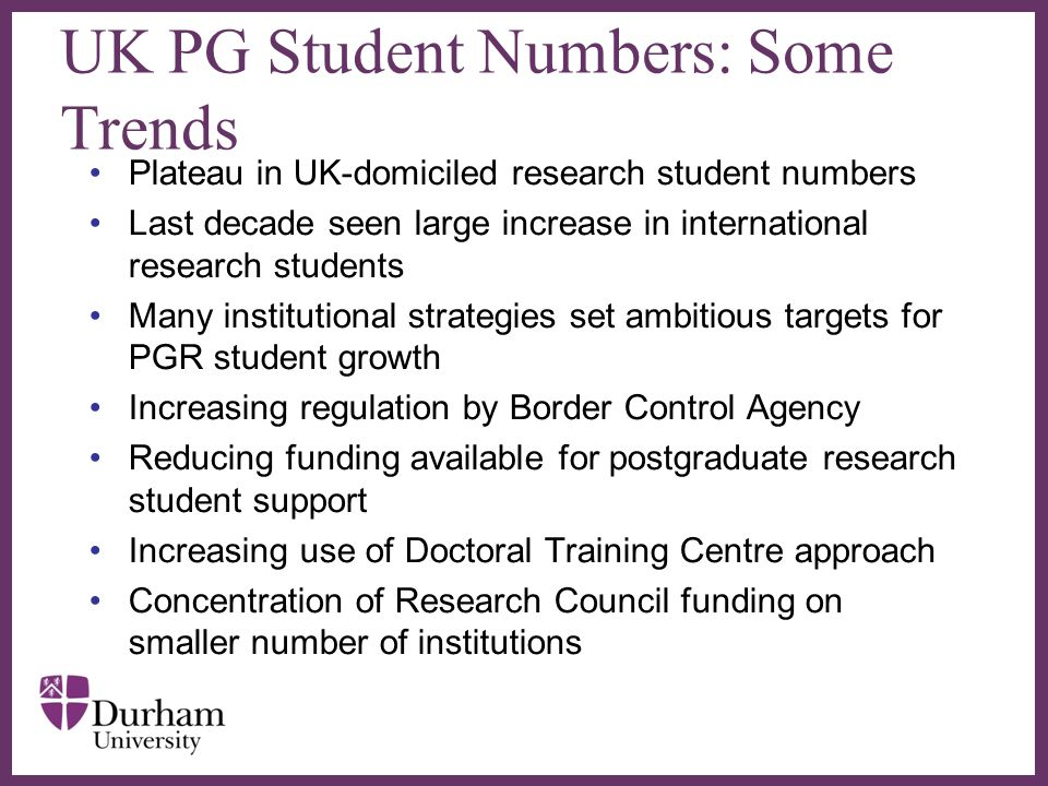 UK PG Student Numbers: Some Trends