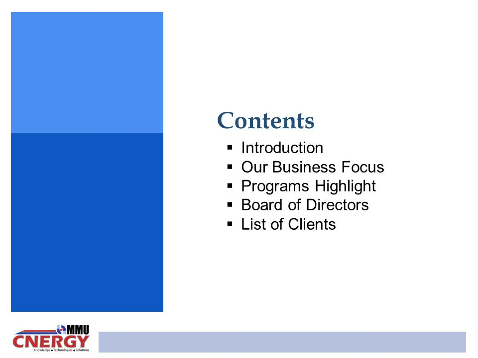 Contents Introduction Our Business Focus Programs Highlight