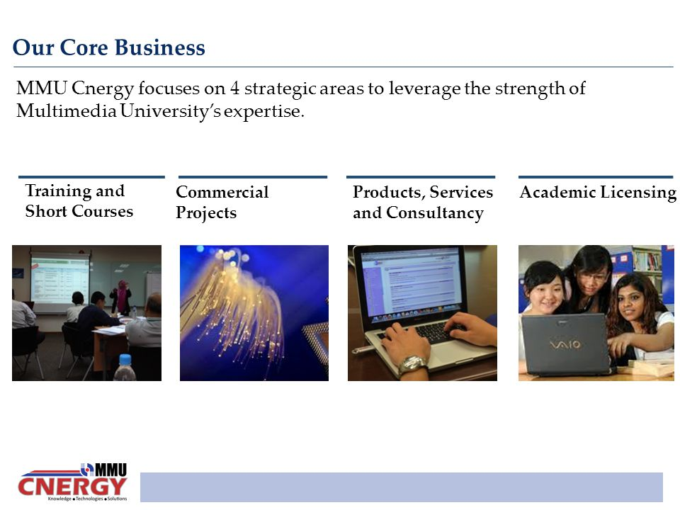 Our Core Business MMU Cnergy focuses on 4 strategic areas to leverage the strength of Multimedia University's expertise.