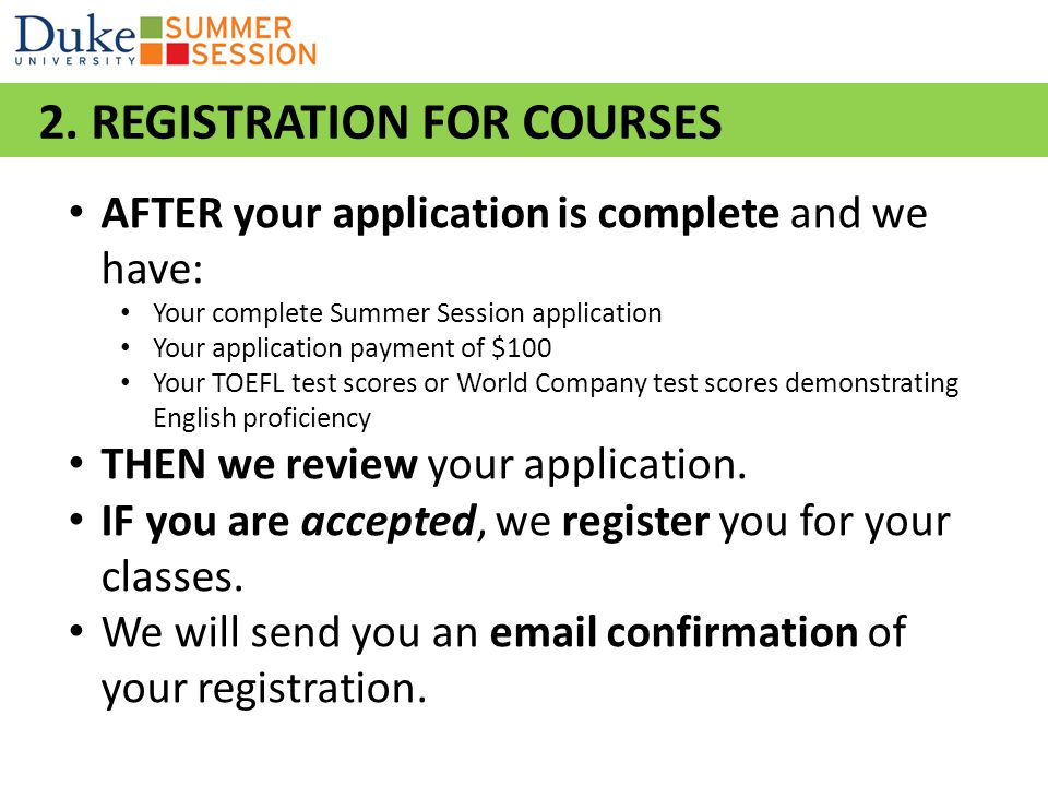 2. REGISTRATION FOR COURSES