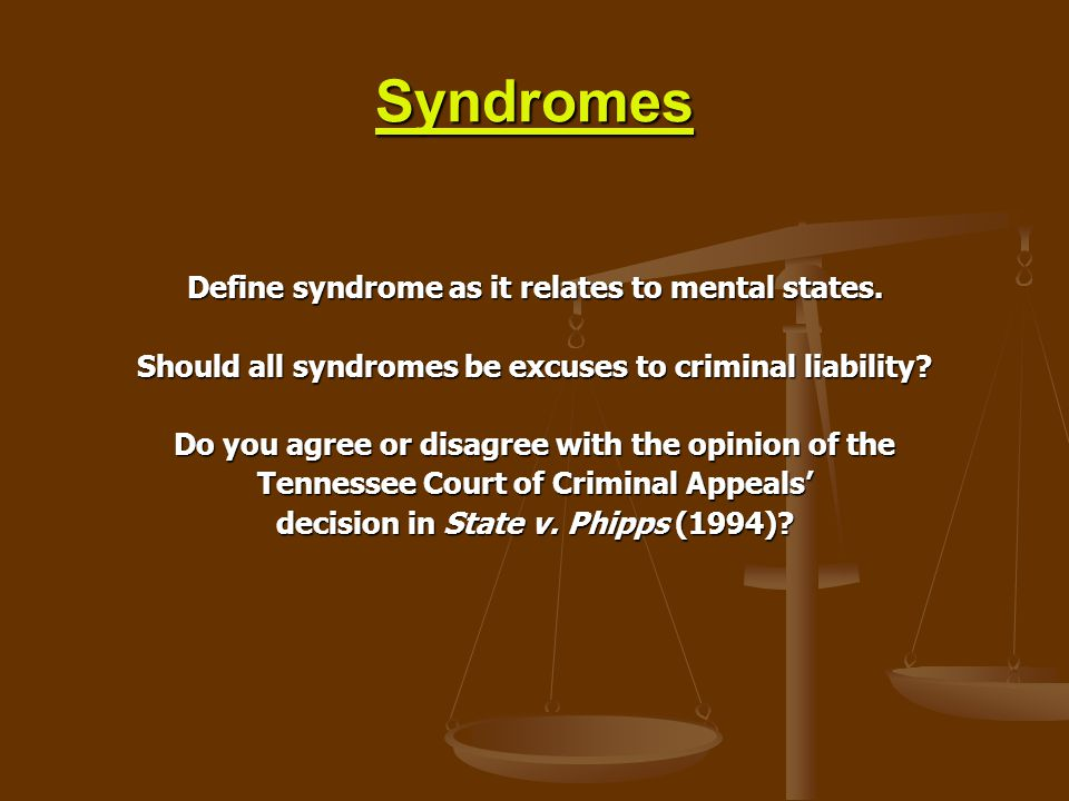 Syndromes Define syndrome as it relates to mental states.