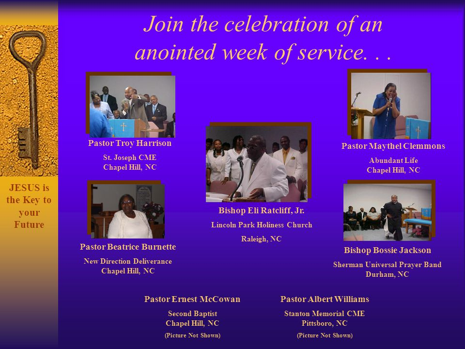 Join the celebration of an anointed week of service. . .