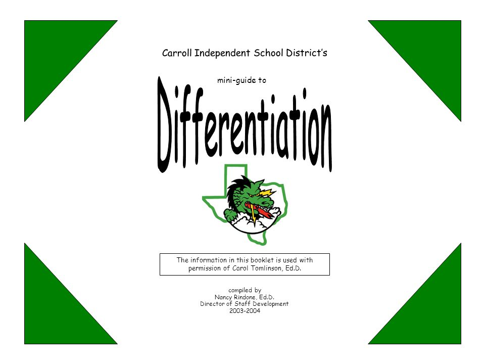 Differentiation Carroll Independent School District's mini-guide to