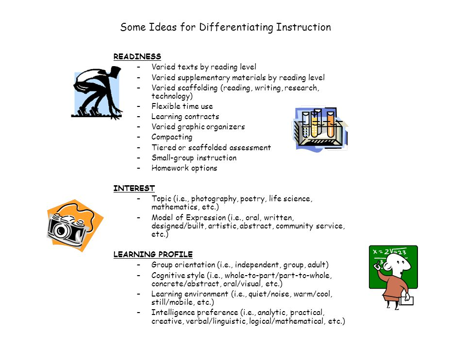 Some Ideas for Differentiating Instruction