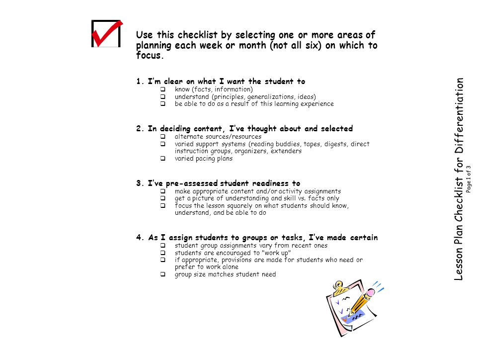 Lesson Plan Checklist for Differentiation Page 1 of 3