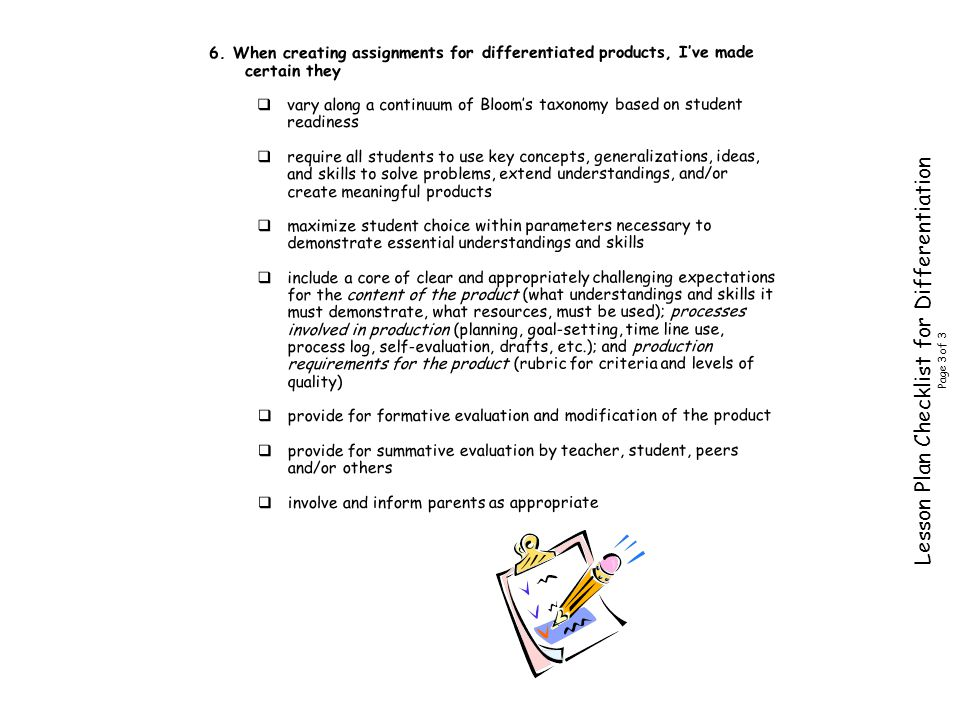 Lesson Plan Checklist for Differentiation Page 3 of 3