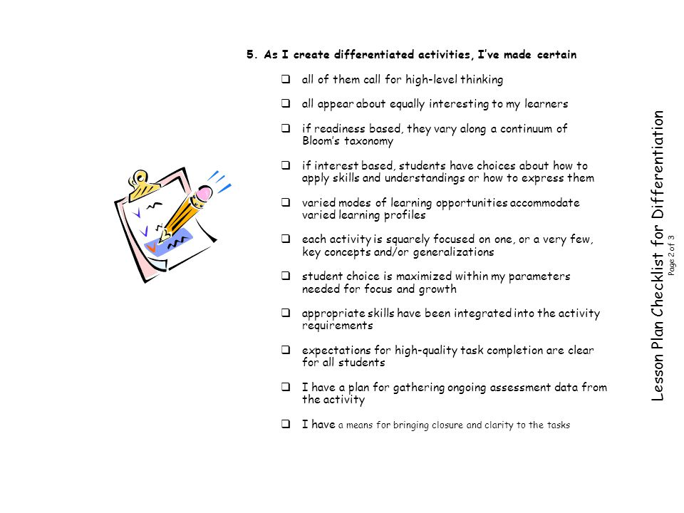 Lesson Plan Checklist for Differentiation Page 2 of 3