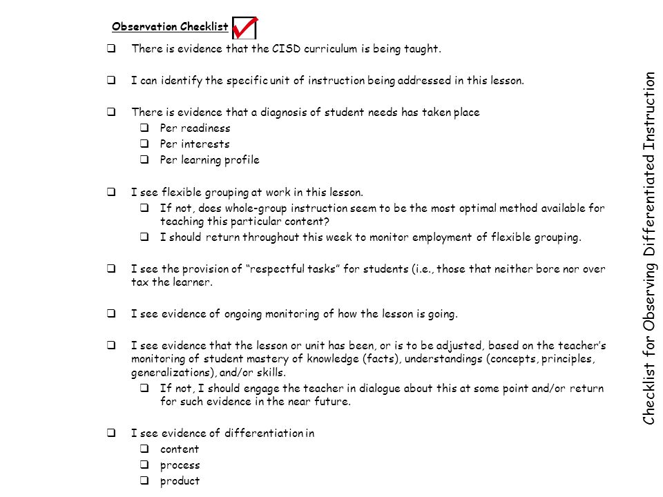 Checklist for Observing Differentiated Instruction