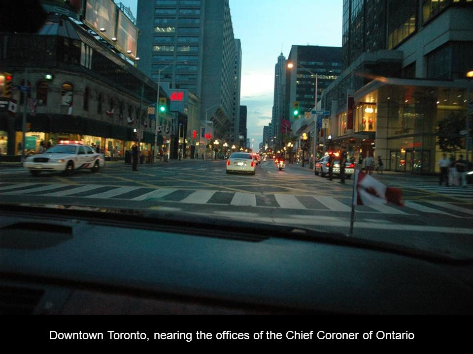 Downtown Toronto, nearing the offices of the Chief Coroner of Ontario