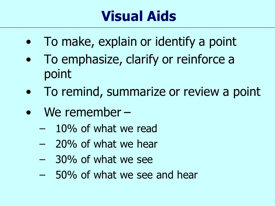 Visual Aids To make, explain or identify a point