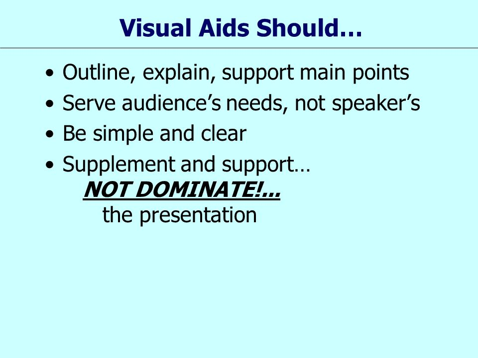 Visual Aids Should… Outline, explain, support main points