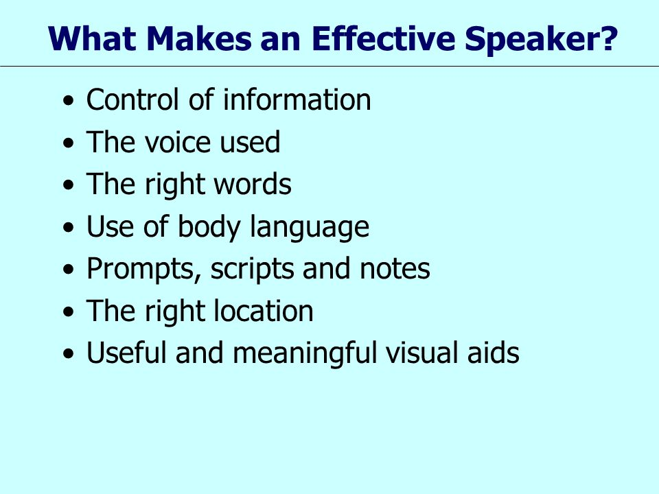 What Makes an Effective Speaker