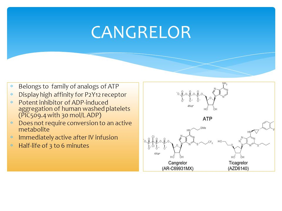 CANGRELOR Belongs to family of analogs of ATP