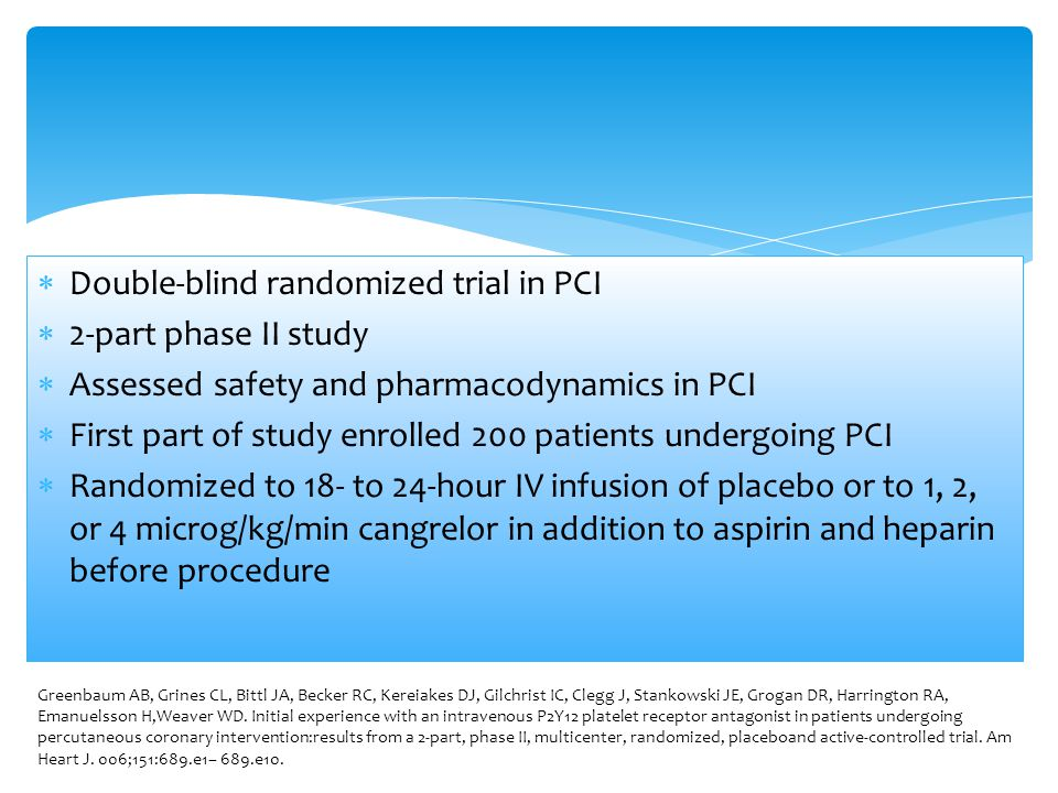 Double-blind randomized trial in PCI 2-part phase II study