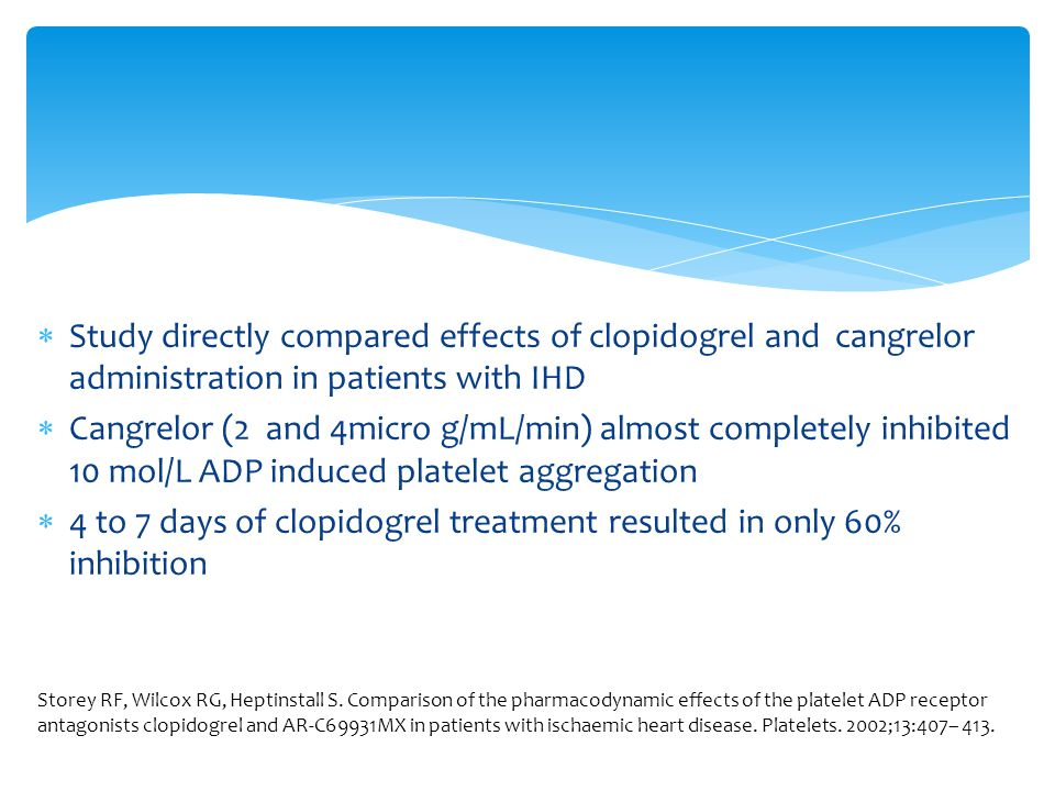4 to 7 days of clopidogrel treatment resulted in only 60% inhibition