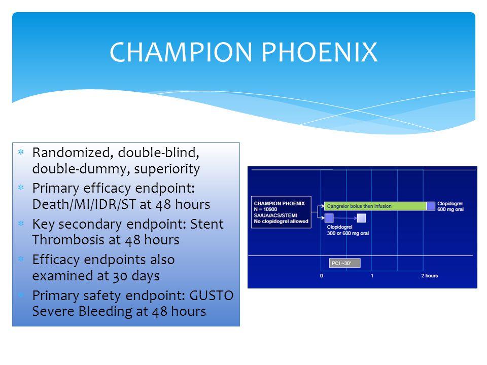 CHAMPION PHOENIX Randomized, double-blind, double-dummy, superiority