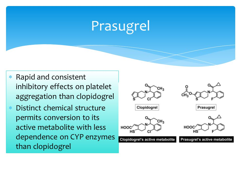Prasugrel Rapid and consistent inhibitory effects on platelet aggregation than clopidogrel.