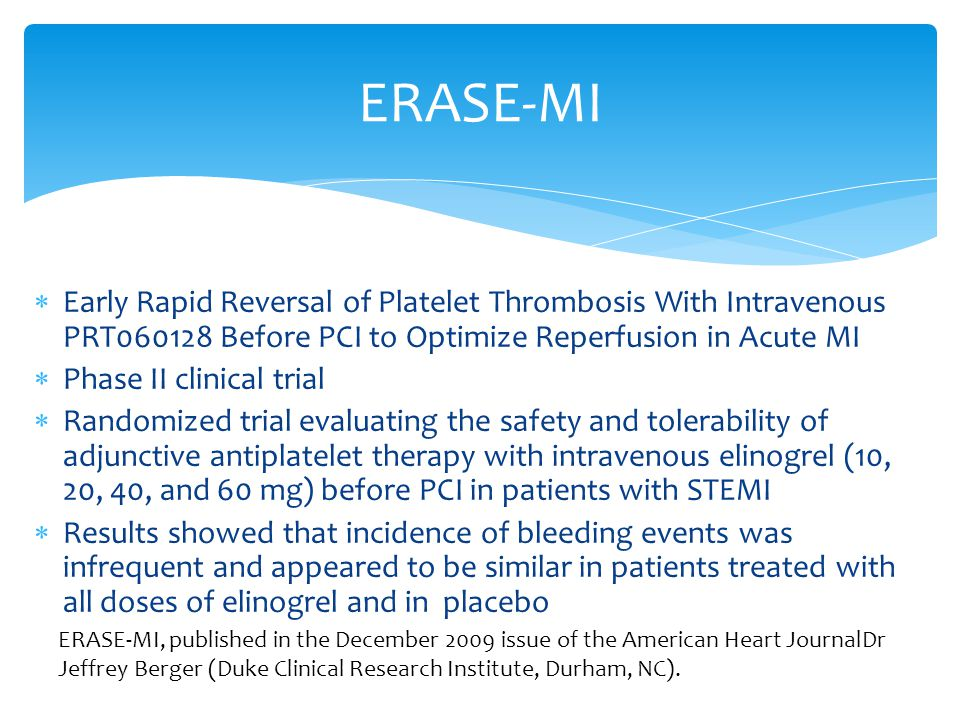 ERASE-MI Early Rapid Reversal of Platelet Thrombosis With Intravenous PRT060128 Before PCI to Optimize Reperfusion in Acute MI.