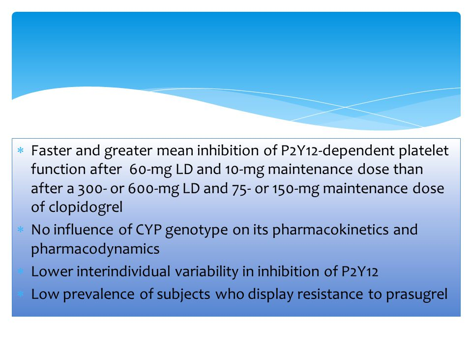 Faster and greater mean inhibition of P2Y12-dependent platelet function after 60-mg LD and 10-mg maintenance dose than after a 300- or 600-mg LD and 75- or 150-mg maintenance dose of clopidogrel