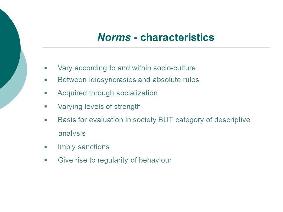 Norms - characteristics