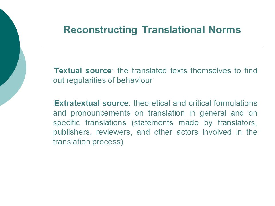 Reconstructing Translational Norms