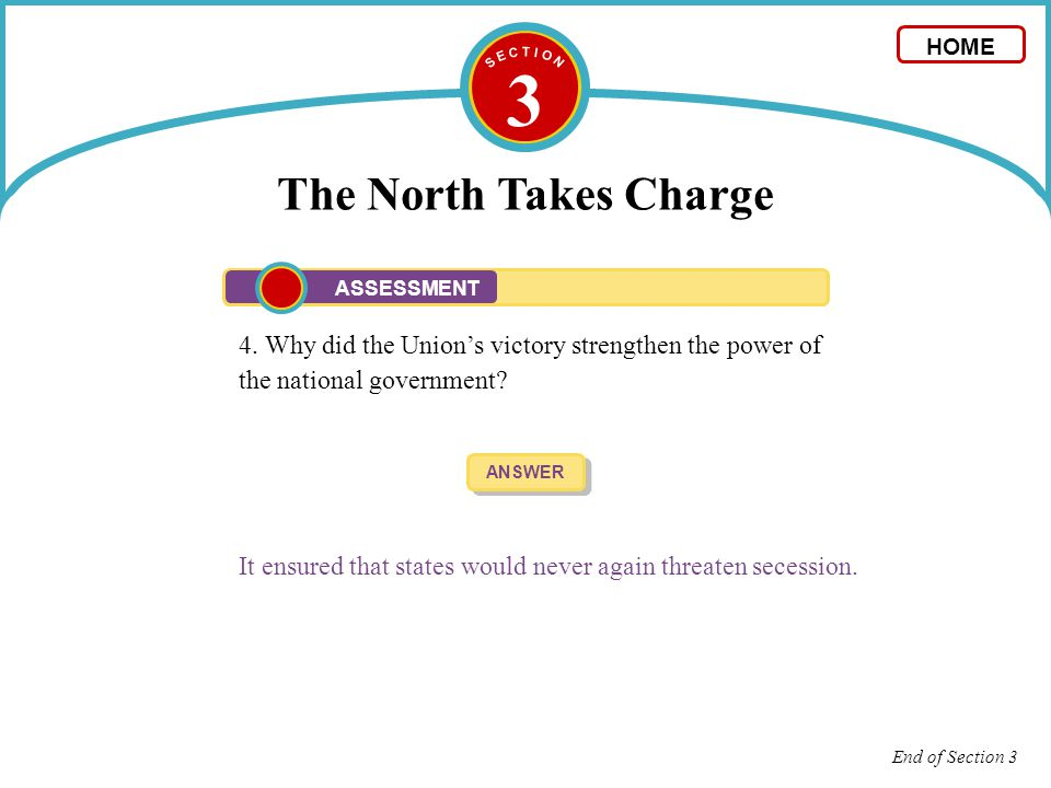 S E C T I O N 3. The North Takes Charge. HOME. ASSESSMENT. 4. Why did the Union's victory strengthen the power of the national government