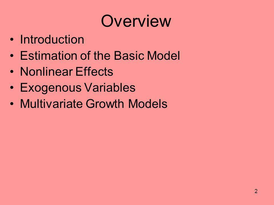 Overview Introduction Estimation of the Basic Model Nonlinear Effects