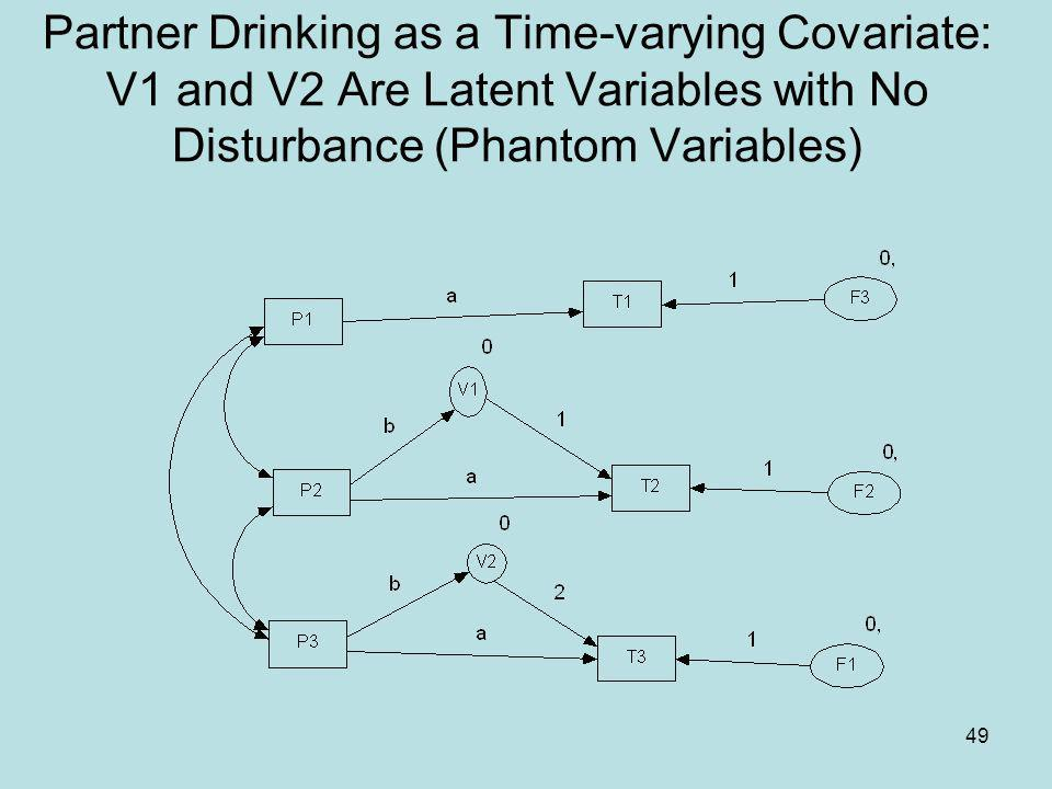 Partner Drinking as a Time-varying Covariate: V1 and V2 Are Latent Variables with No Disturbance (Phantom Variables)