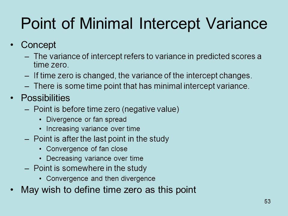 Point of Minimal Intercept Variance