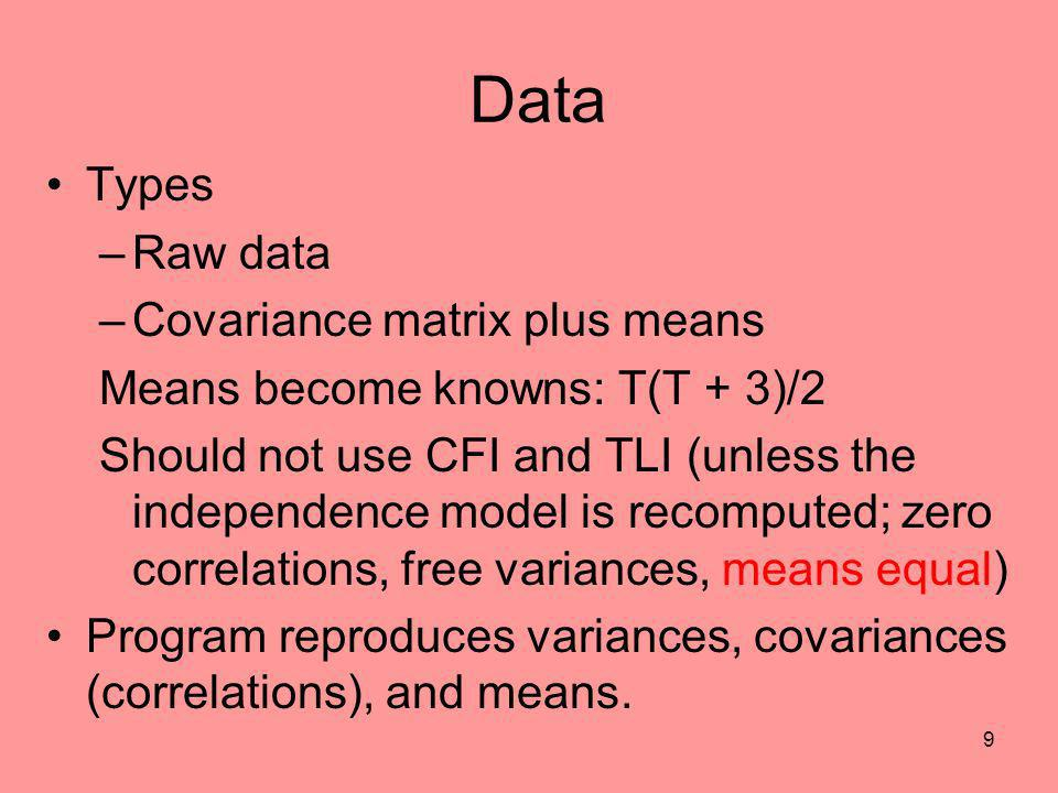 Data Types Raw data Covariance matrix plus means