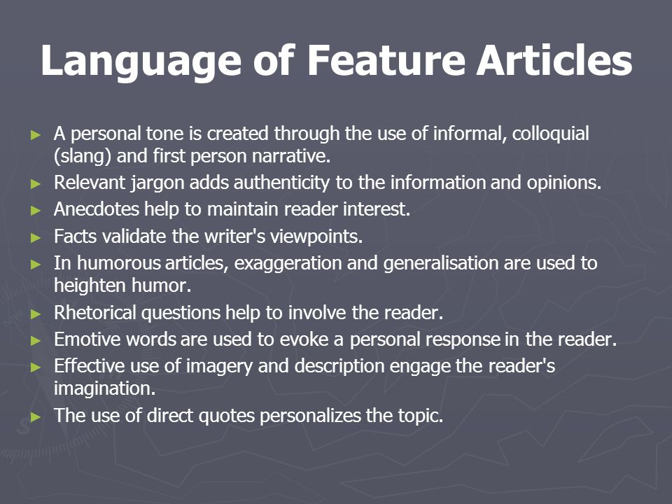 Language of Feature Articles