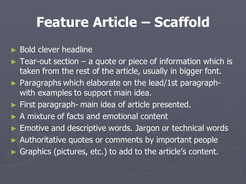 essay on feature article Hard news vs feature stories this is very different from an essay, which presumes that the audience will of the article.