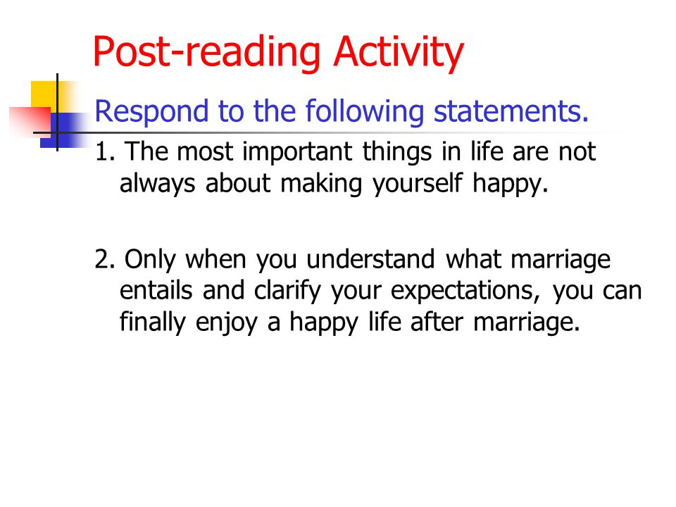 Post-reading Activity