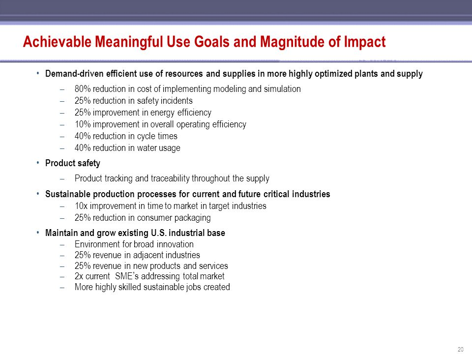 Achievable Meaningful Use Goals and Magnitude of Impact
