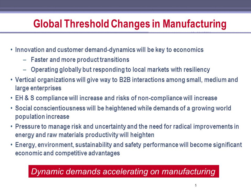Global Threshold Changes in Manufacturing