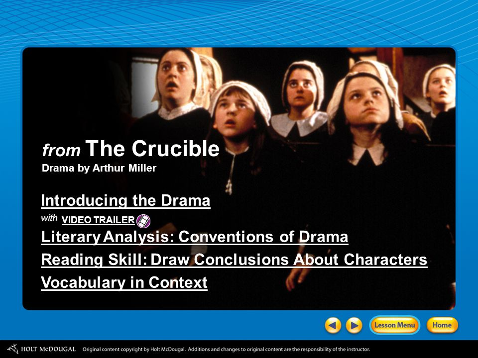 from The Crucible Introducing the Drama