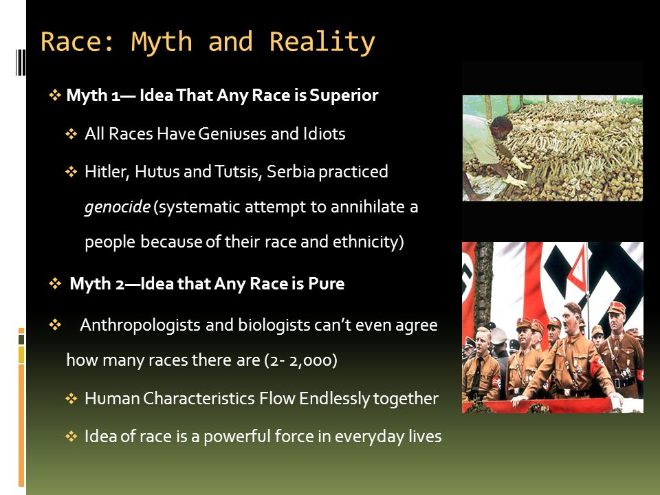 Race: Myth and Reality Myth 1— Idea That Any Race is Superior