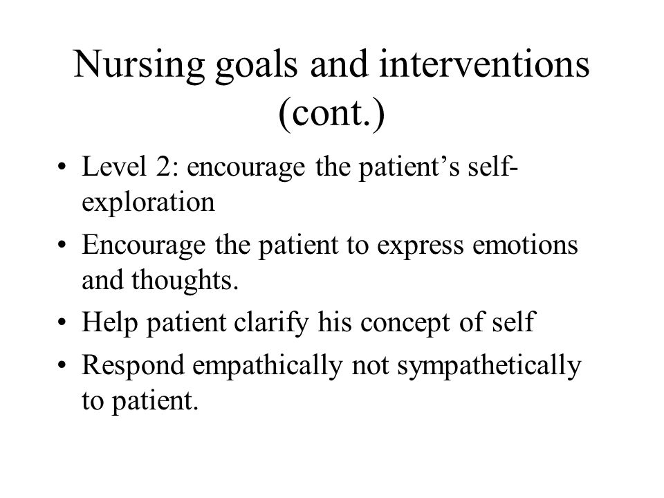 Nursing goals and interventions (cont.)