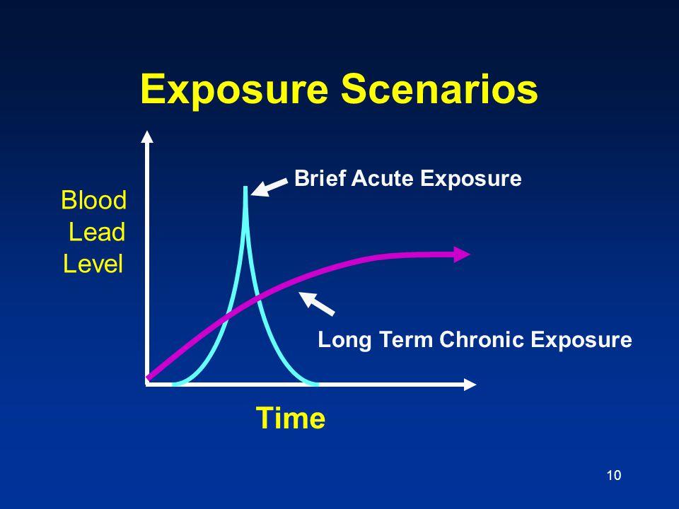 Exposure Scenarios Time Blood Lead Level Brief Acute Exposure