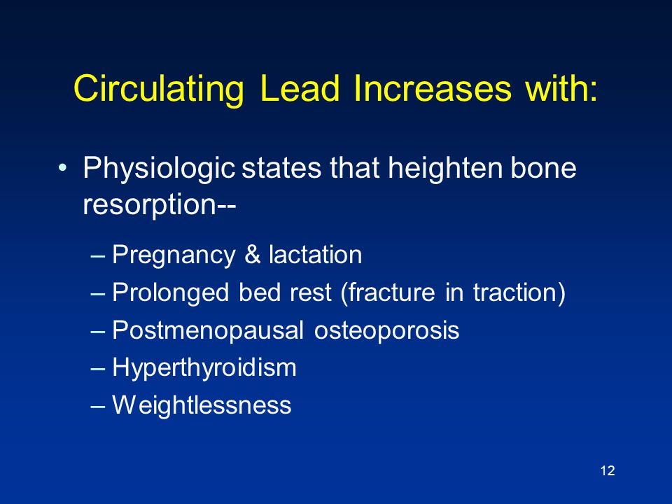 Circulating Lead Increases with: