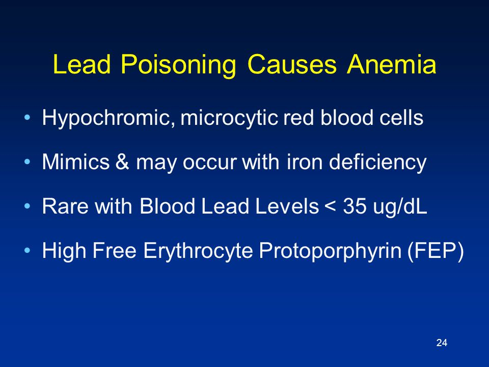 Lead Poisoning Causes Anemia