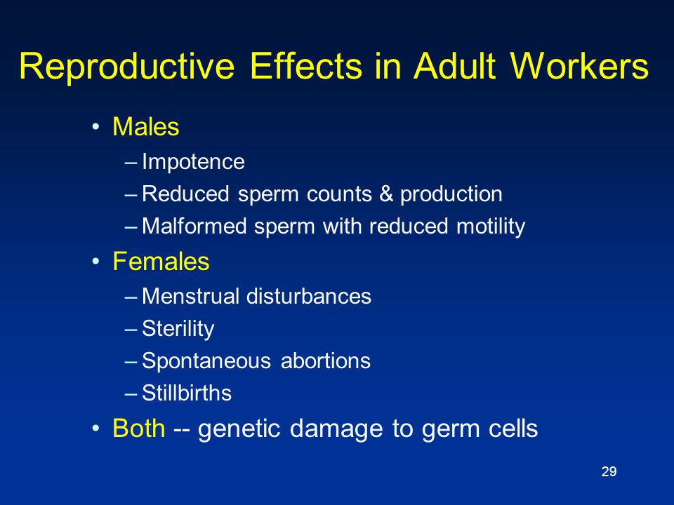 Reproductive Effects in Adult Workers