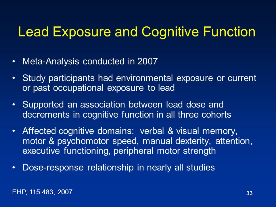 Lead Exposure and Cognitive Function
