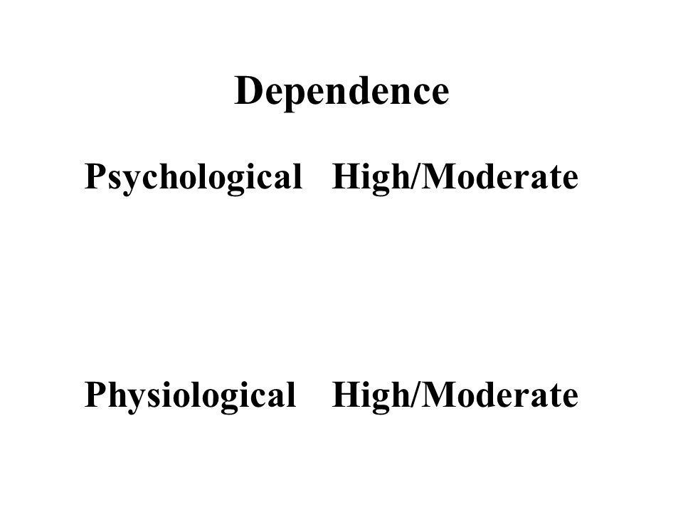 Dependence Psychological High/Moderate Physiological High/Moderate