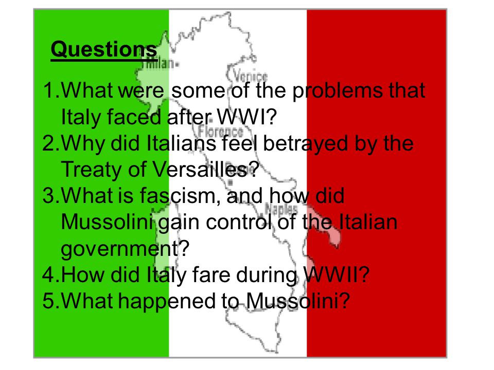 What were some of the problems that Italy faced after WWI